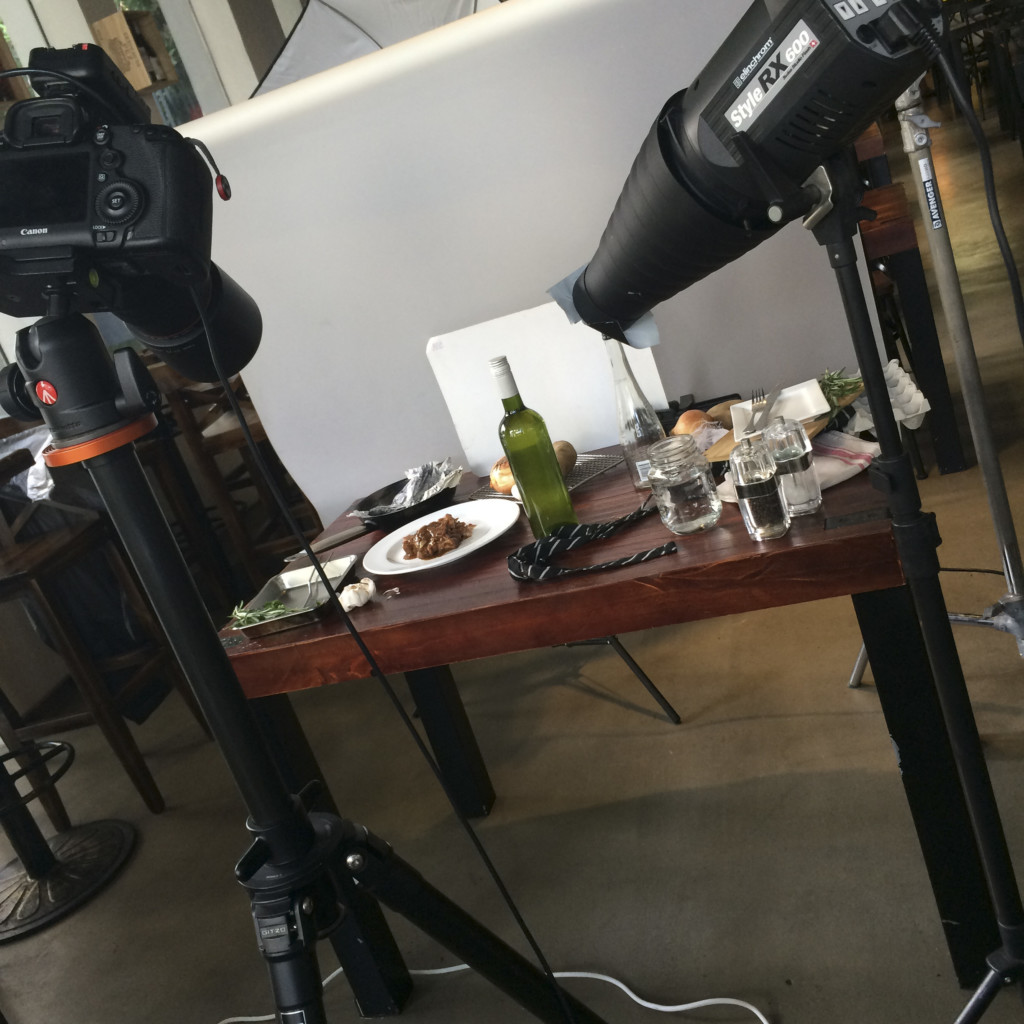 Camera, Lights and Food Photo shoot